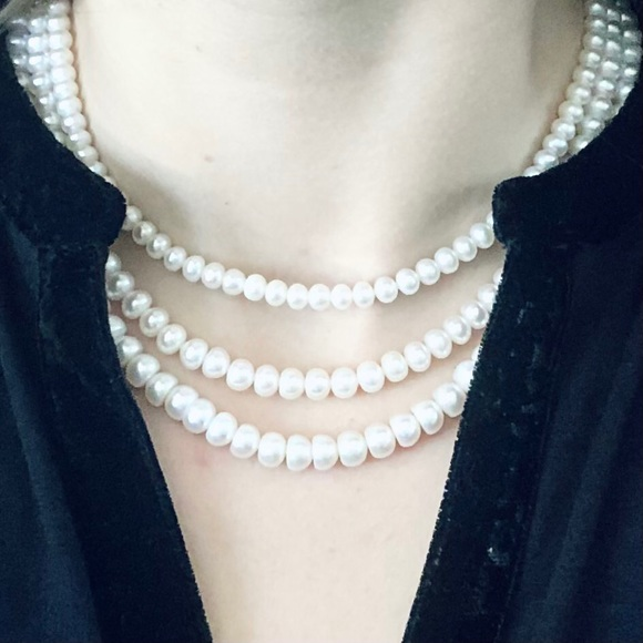 3 Strand Pearl 14k Yellow Gold String Necklace